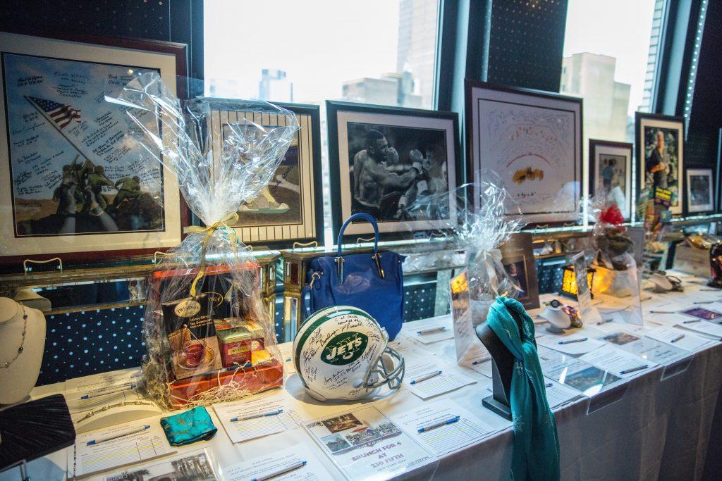 Sports memorabilia setup for silent auction