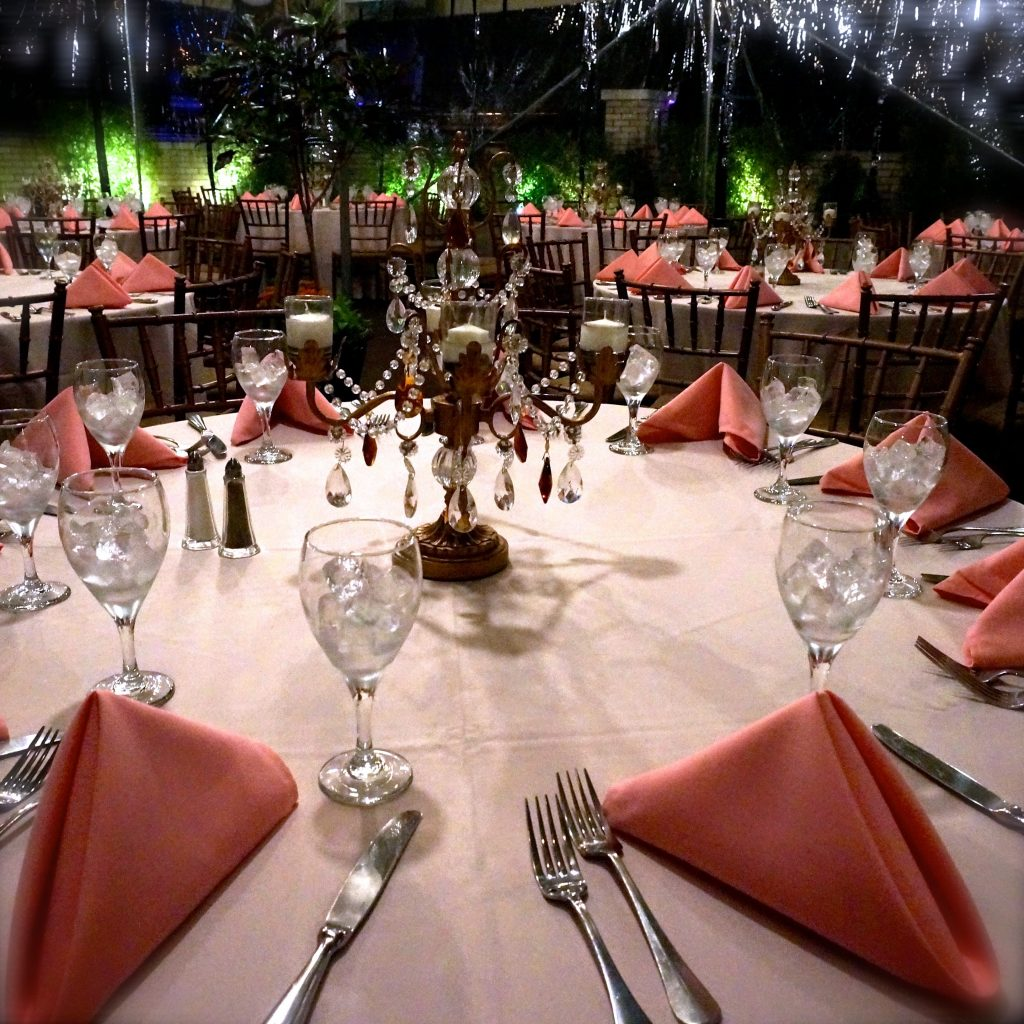 Outside Party Setup With Numerous Tables with Placemats